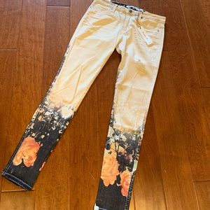 Frankie B Perfect Fit Monet Rose painting jeans